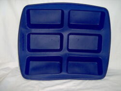 Kitchenaid Large 6 Loaf Bread Pan Baking Bakeware Mold Blue Silicone Kitchen Aid