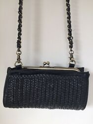 Anthropologie Bianca Woven Clutch NWT Black Lots of Pockets Long Chain Kisslock $15.00