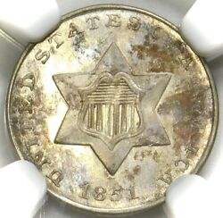 🔥🧊🔥🧊😍🧊ngc Ms66 1851 3 Cent Silver