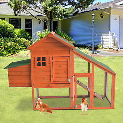 Wooden Chicken Coop Hen House Poultry Hutch Pet Cage w Nesting Box Backyard