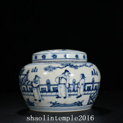 Ancient China Ming Dynasty Blue And White Figure Pattern Cover Can