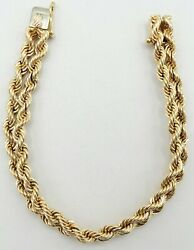 14k Yellow Gold Solid Double Rope Chain Bracelet 7.5 9mm 29.9g S1306