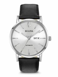 Bulova Automatic Men#x27;s Calendar Black Leather Silver Dial 42mm Watch 96C130