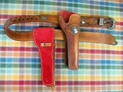 Western 1880and039s Style Leather Cartridge Gun Belt With Two Slide Revolver Holsters