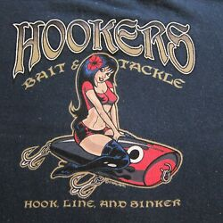 Sexy Pinup Hookers Bait And Tackle Med T Shirt Fishing Lure Navy Blue Key West