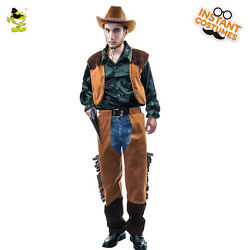 Mens Cowboy Western Costume Adult Cool Cosplay Cowboy Dress Up Outfits For Party