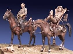 Cowboys On Horses Tin Painted Toy Miniature Soldier Pre Sale   Art