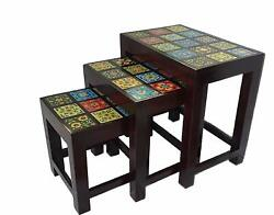 Set Of 3 Wood Nesting Stacking Tables Living Room Coffee Side Table Furniture