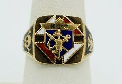 Antique 14k Yellow Gold Enamel Painted Knights Of Columbus Ring Sz7 9.1g S1333