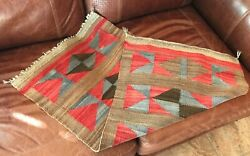 Navajo Native American 1905 Rug/saddle Blanket Antique 37 X 19 Finely Woven