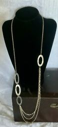 """Silpada Sterling Silver 925 Israel Retired N1720 Hammered Oval Link 32"""" Necklace"""