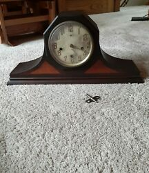 Antique New Haven Westminster Lincoln Tambour Mantle Clock Chorded Chime/silent