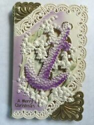 Vintage Victorian Christmas Card Die Cut Lacey Embossed Anchor Outstanding