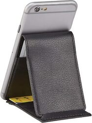Premium Leather Stick On Cell Phone Wallet For Most Smartphones 6 Credit Cards