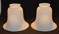 Vintage Frosted Spatter Paint Lamp Shades 2 Qty 2 1/4 Inch Fitter