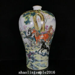 16ancient China The Qing Dynasty Enamel Eight Fine Horse Chart Pulm Vase