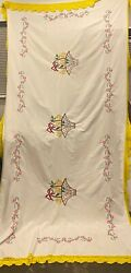 Handmade Mexican Tablecloth, Hand Embroideredunique L115 Inches X W50 Inches
