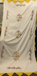 Handmade Mexican Tablecloth, Hand Embroidered Unique L122 Inches X W64 Inches