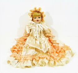 18 Porcelain Doll With Cloth Body Blonde Hair Blue Eyes Long Dress And Bonnet