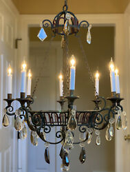 Antique French Vintage Crystal Wrought Iron Tuscan Mediterranean Chandelier