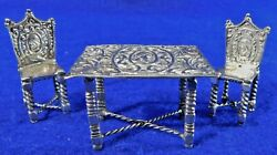 Antique/vtg Sterling Silver Miniature Dollhouse Table And 2 Chairs Set 31g Ornate