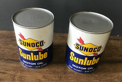 2 Nos Vintage Sunoco Sunlube Motor Oil Can 1960s Sae 20-20w Gas Service Station
