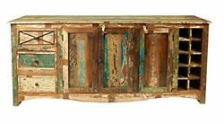 French Style Reclaimed Recycled Wood Sideboard Matt Finish Furniture Home Decor