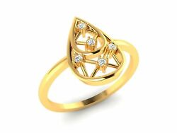 22k Ring Solid Gold Ladies Jewelry Modern Oval Tear Drop Shape Band Cgr36
