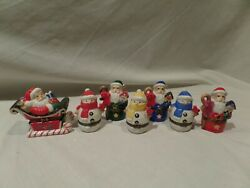 Department 56 Porcelain Christmas Hinged Trinket Boxes-lot Of7