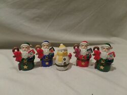 Department 56 Lot Of 5 Porcelain Christmas Hinged Trinket Boxes
