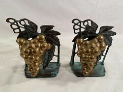 Andrea By Sadek Brass And Metal Bookends Bunch Of Grapes Leaves Design 7 Tall