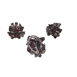 Art Deco Mexican Palladium Sterling Ruby And Diamond Earrings And Ring Set