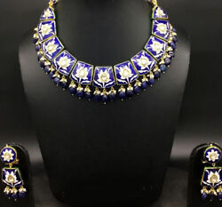 23k Gold Diamond Polki Necklace Exquisite Blue Pottery Natural Sapphire Jewelry