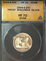 2004-s Wisconsin Pf70 Silver State Quarter Dcam Proof