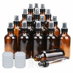 Ulg Small Amber Glass Spray Bottles 4 Oz Empty Atomizer 8 Pack