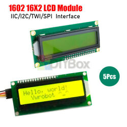 5pcs 162 1602 Lcd W/ Keypad Shield Board Yellow Backlight Fit For Arduino Robot