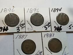 Indian Cent Indian Head Penny Lot Of 5 - Years 1887 1894 1896
