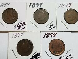 Indian Cent Indian Head Penny Lot Of 5 Years 1893-1894