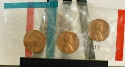 1971 P S D 1971d 1971s Lincoln Cent Uncirculated Us Mint Set In Cello Bu