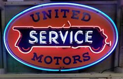 United Motors Neon Sign Approx 4ft Wide Hand Painted Gas And Oil Freight Shipping