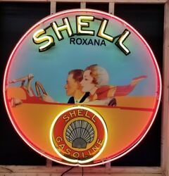 3.5 Ft Shell Roxana Neon Sign Gas And Oil Freight Shipping Available