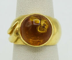 18k Yellow Gold 12mm Amber Glass Ring Size 6 7.4g S1419