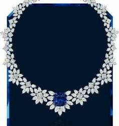 925 Sterling Silver Blue White Pear Marquise Flower Highend Necklace Women