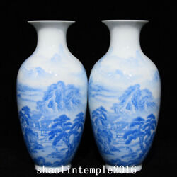 A Pair China The Qing Dynasty Sapphire Blue Landscape Figure Pattern Bottle