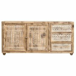 Handicraft Wood Sideboard Natural Antique And White For Home Office Furniture