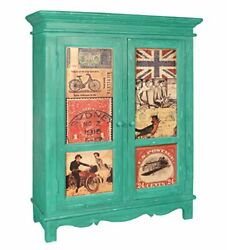 Handicraft Wood Antique Sideboard Matt Finish Green For Home Office Furniture