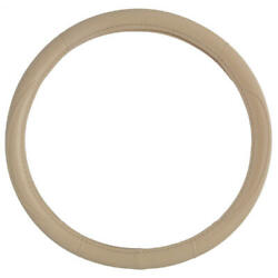 Soft Leather Grip Ergonomic Steering Wheel Cover Beige Universal Fit 14.5-15.5
