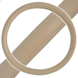 Tan Performance Leather Grip Steering Wheel Cover Protector Skin Wrap Universal