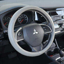 Leather Performance Grip Steering Wheel Cover Universal Size 14.5-15.5 Gray