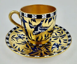 Antique Coalport Demitasse Cup And Saucer, Birds And Bamboo